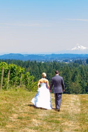 A bride and groom walk away from the camera at a vineyard at a winery in Oregon near portland and mount hood. photo