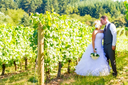 A bride and groom share a kiss after their ceremony on their wedding day at a vineyard winery in Oregon outdoors.