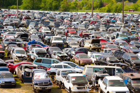 The scene shows many cars and other automobiles in a salvage junk yard where customers can pick and choose part for their vehicle repairs. Stock Photo