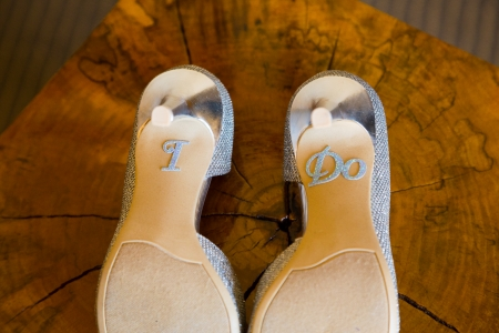 stilletto: These wedding shoes say I Do on the bottom of the heels.