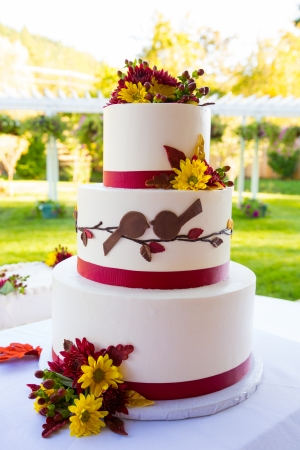 A beautiful wedding cake is set up at the reception for a bride and groom.