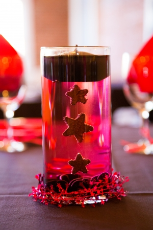 decor: Candles are used as decor for this wedding reception after the bride and groom are married.