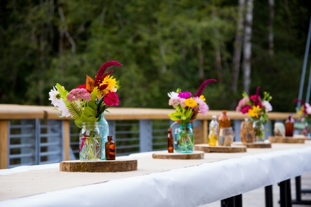 Tables are set and ready for a wedding reception in Oregon.