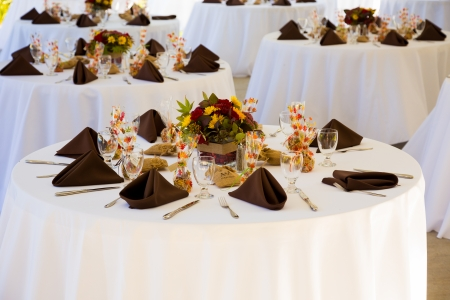receptions: Tables are set and ready for a wedding reception in Oregon.