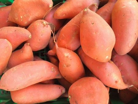 Sweet Potatoes or Yams at Produce Stand Stock Photo