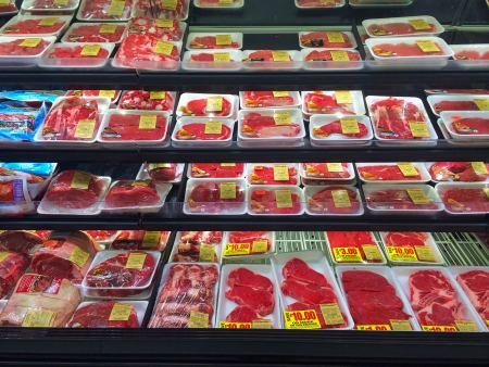 SPRINGFIELD, OR - DECEMBER 27: Beef selection at Fred Meyer in Springfield on December 27, 2013. Beef prices rise as result of record low cattle production in 2013.