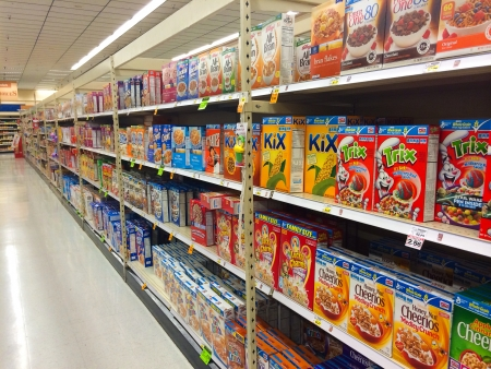 SPRINGFIELD, OR - DECEMBER 27: Cereal aisle at Fred Meyer in Springfield on December 27, 2013. Cereal is a popular breakfast food in the USA.