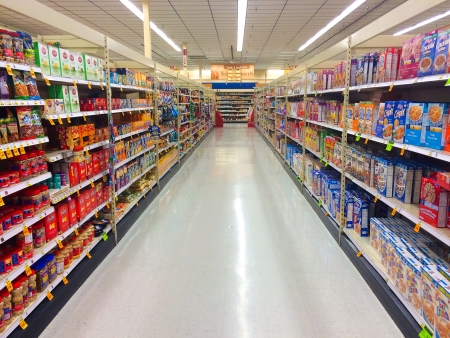 SPRINGFIELD, OR - DECEMBER 27: Grocery aisle at Fred Meyer in Springfield, OR on December 27, 2013.