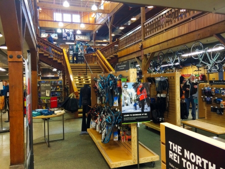 exceeding: EUGENE, OR - JANUARY 1: REI Recreational Equipment, Inc. store interior in Eugene, OR on January 1, 2014. REI is a retailer of outdoor gear with sales exceeding $1.5 billion each year. Editorial