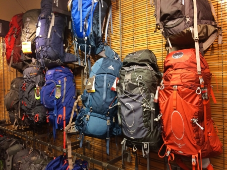 exceeding: EUGENE, OR - JANUARY 1: REI Recreational Equipment, Inc. backpack selection in Eugene, OR on January 1, 2014. REI is a retailer of outdoor gear with sales exceeding $1.5 billion each year. Editorial