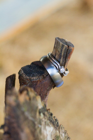 committed: Two wedding rings together at a winery in Oregon, the rings are placed on a piece of wood. Stock Photo