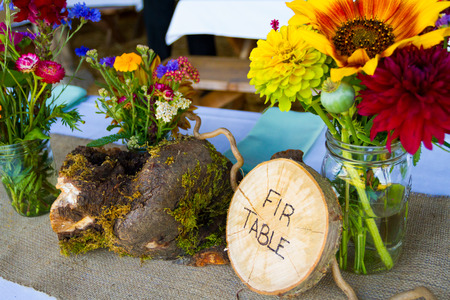 crosscut: Wedding decor and decorations are made up of wildflowers and crosscut sections of fir trees at this organic natural reception in Oregon.
