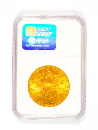 numismatic: Springfield, OR, USA - April 2, 2014: 20 dollar 1898 S Liberty Head gold coin graded by Numismatic Guaranty Corporation in a mint collector case.
