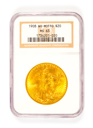 numismatic: Springfield, OR, USA - April 2, 2014: 1908 no motto St. Gaudens 20 dollar gold coin graded by Numismatic Guaranty Corporation in a protective case. Editorial