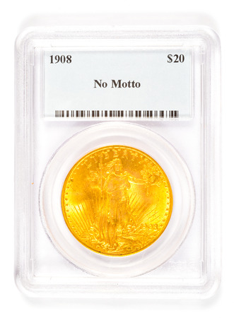 minted: Antique gold coin in a collectors case after being graded. Stock Photo