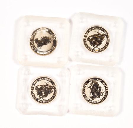 minted: Australian platinum money on white background.
