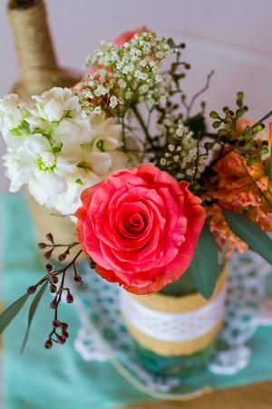 Closeup Of A Do It Yourself Piece Of Wedding Decor Stock Photo