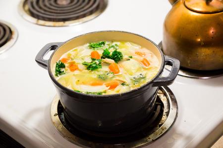 Nederlandse oven op een fornuis tijdens het koken kip noodle soep.
