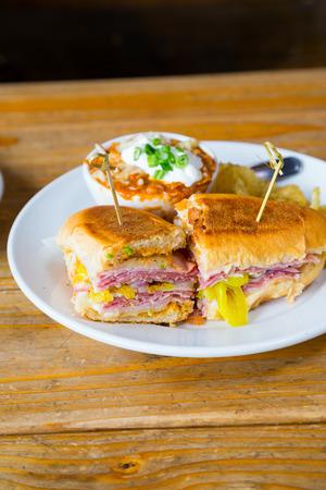 Pastrami grinder sandwich at a trendy Oregon restaurant.