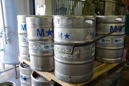 kegs: Eugene, OR, USA - July 17, 2014: Microstar stainless steel kegs for beer at Oakshire Brewing. Editorial