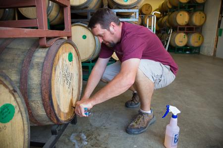 brewer: Eugene, Oreg�n, EE.UU. - 17 de julio 2014: maestro cervecero en el muestreo Oakshire Brewing y degustaci�n de cervezas de barril bourbon de edad en la cervecer�a.