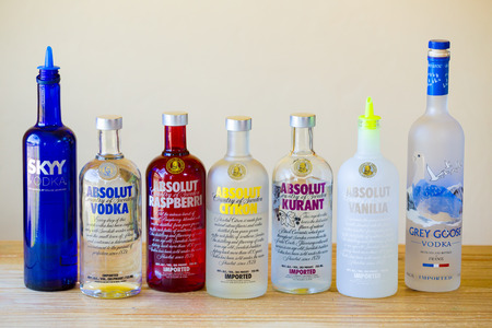 Eugene, OR, USA - June 23, 2014: Vodka selection at a bar including seven types of vodkas. Editorial