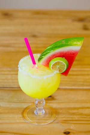 margaritas: Margarita made with watermelon garnish at a traditional Mexican restaurant bar. Stock Photo