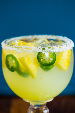 margaritas: Margarita infused with jalapeno peppers at a restaurant bar.