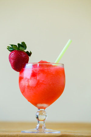 margaritas: Restaurant bar special strawberry margarita blended with a straw.