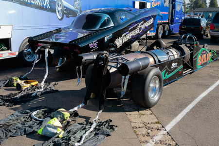 dragster: WOODBURN, OR - SEPTEMBER 27, 2015: Darin Bays Warped Speed jet dragsters prepping for a race at the NHRA 30th Annual Fall Classic at the Woodburn Dragstrip.