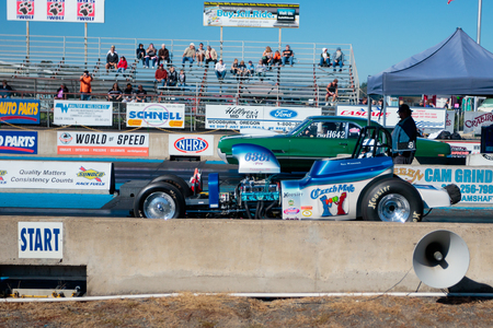 dragster: WOODBURN, OR - SEPTEMBER 27, 2015: Open shifter classification vehicle competing at the NHRA 30th Annual Fall Classic at the Woodburn Dragstrip.