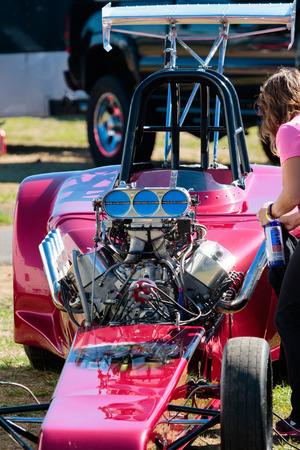 dragster: WOODBURN, OR - SEPTEMBER 27, 2015: Open engine dragster detail at the NHRA 30th Annual Fall Classic at the Woodburn Dragstrip.