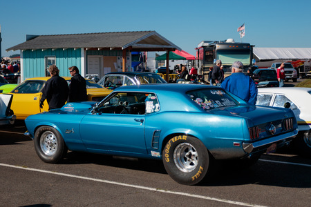 dragster: WOODBURN, OR - SEPTEMBER 27, 2015: Classic Ford Mustang at the NHRA 30th Annual Fall Classic at the Woodburn Dragstrip.