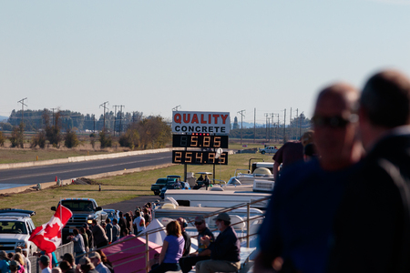 dragster: WOODBURN, OR - SEPTEMBER 27, 2015: Legends AA fuel injected dragster during a solo run goes over 250mph at the NHRA 30th Annual Fall Classic at the Woodburn Dragstrip. Editorial