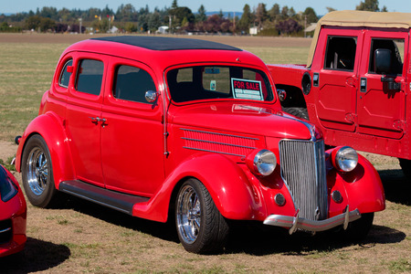 dragstrip: WOODBURN, OR - SEPTEMBER 27, 2015: 1936 Ford sedan for sale at the NHRA 30th Annual Fall Classic at the Woodburn Dragstrip.
