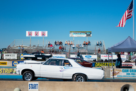 dragstrip: WOODBURN, OR - SEPTEMBER 27, 2015: Open shifter classification vehicle competing at the NHRA 30th Annual Fall Classic at the Woodburn Dragstrip.