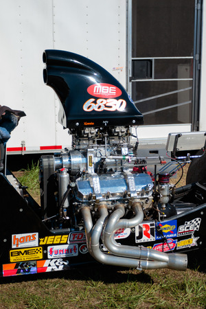 dragster: WOODBURN, OR - SEPTEMBER 27, 2015: Dragster engine detail at the NHRA 30th Annual Fall Classic at the Woodburn Dragstrip.
