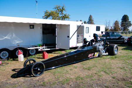 dragster: WOODBURN, OR - SEPTEMBER 27, 2015: Dragster in the pits at the NHRA 30th Annual Fall Classic at the Woodburn Dragstrip. Editorial