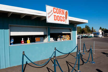dragstrip: WOODBURN, OR - SEPTEMBER 27, 2015: Corn dog stand at the NHRA 30th Annual Fall Classic at the Woodburn Dragstrip.