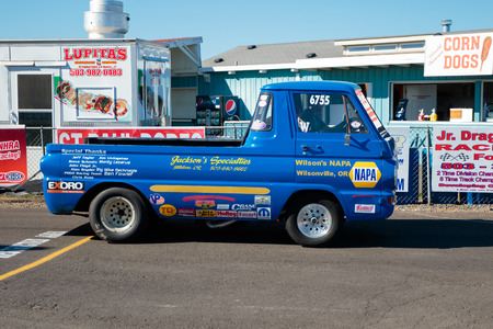 drag race: WOODBURN, OR - SEPTEMBER 27, 2015: Classic car competing in the open shifter classification at the NHRA 30th Annual Fall Classic at the Woodburn Dragstrip.