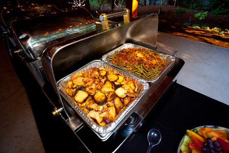 Buffet At A Wedding Reception For Dinner Including Potatoes And