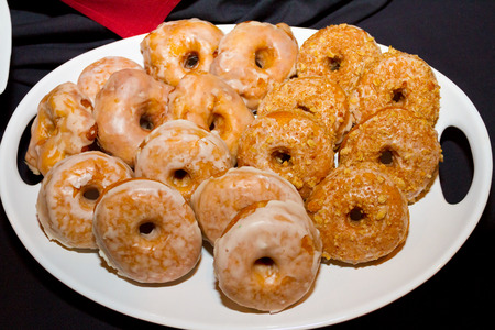 Donuts for dessert at a wedding reception.