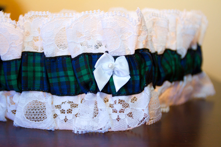 Garter with plaid for a Scottish bride.