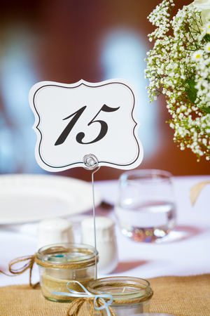 decor: Wedding reception seating table number.