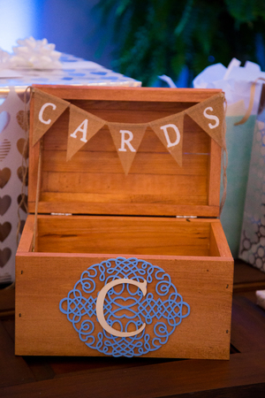Wedding gift table cards box at a ceremony and reception in Oregon.