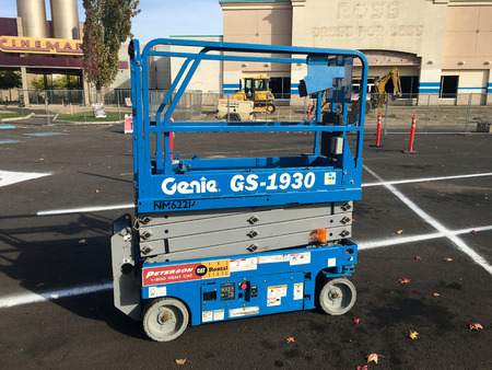 animal only: SPRINGFIELD, OR - OCTOBER 22, 2015: Construction site equipment including this Genie GS-1930 at the Gateway Mall renovation.