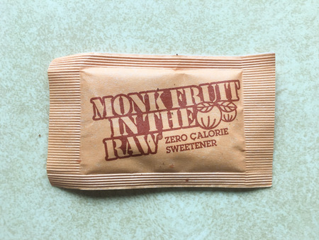 SPRINGFIELD, OR - OCTOBER 23, 2015: Monk Fruit In The Raw, a zero calorie sweetener on a kitchen counter.