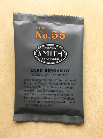 steven: SPRINGFIELD, OR - OCTOBER 23, 2015: Steven Smith Teamaker Lord Bergamot English black tea in packaging on a kitchen counter.