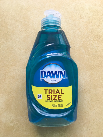 SPRINGFIELD, OR - OCTOBER 23, 2015: Blue Dawn soap on a kitchen counter.