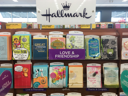 hallmark: SPRINGFIELD, OR - OCTOBER 28, 2015: Hallmark greeting cards selection at a grocery store supermarket.